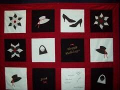 Quilt designed & sewn by Jo Tracy - 2008 - Jo used the hat, shoes & purse from our Diva ensemble and also the small & large leaf petals to make this adorable quilt