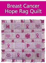 "Breast Cancer ""HOPE"" rag quilt was designed by Carol Murphy  --  she has given this quilt to many friends who have or who survived breast cancer and has even donated them to the 3-day run in Cleveland"