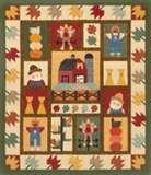A wonderful lap quilt or wall hanging, using the barn, scarecrow, pumpkins and various autumn leafl appliques. Could also substitute the schoolhouse for the barn