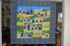 The auction is in two weeks. Right now the quilt is hanging up in the classroom so everyone can enjoy it before it goes to its new family.Thanks again for helping me with this project. I hope we can collaborate again.Elizabeth Olney, Pacific Grove, CA