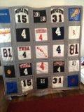 April 2014, Joycelyn created this awesome t-shirt quilt for her son.  I'm sure he loves it.