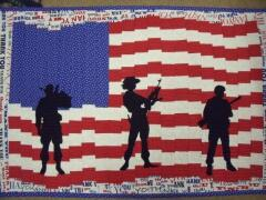 2014, May, Carol made this flag quilt as a tribute to her son who had served 23 years in the Army & finally retired this year & is home safe & sound.  Also a tribute to all those who are still serving & to those who gave the ultimate sacrifice