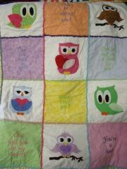 2015 March, Carol Murphy created this adorable owl quilt combining machine embroidery with appliques & embellished the blocks with chenille-it.. Applique Kits are & chenille-it available on the website.