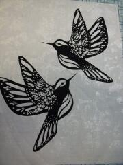 2015, May, These delicate humming birds were a special request by Rose, my husband's cousin.  It's a good thing it's going in a picture frame, because i didn't want to stitch it down.