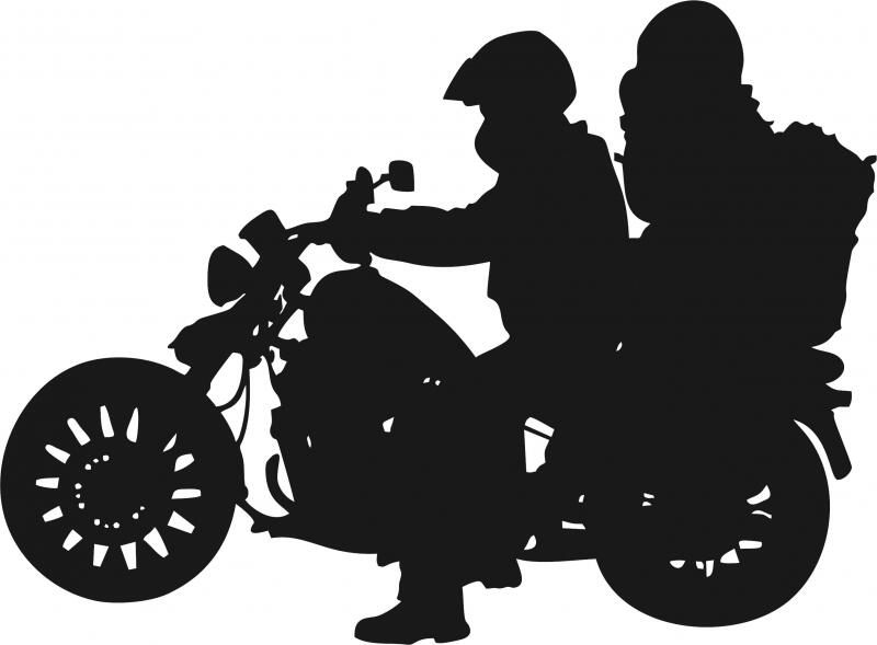 Motorcycle With Couple Riding Silhouette Laser Cut Appliques
