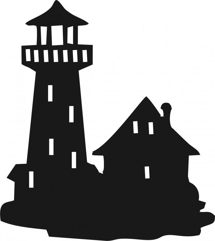 lighthouse w house silhouette laser cut appliques