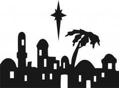 Nativity - Bethlehem Skyline Silhouette Laser Cut Applique Set