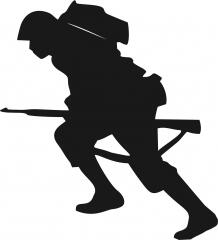Military Soldier Lunging Forward Silhouette Applique