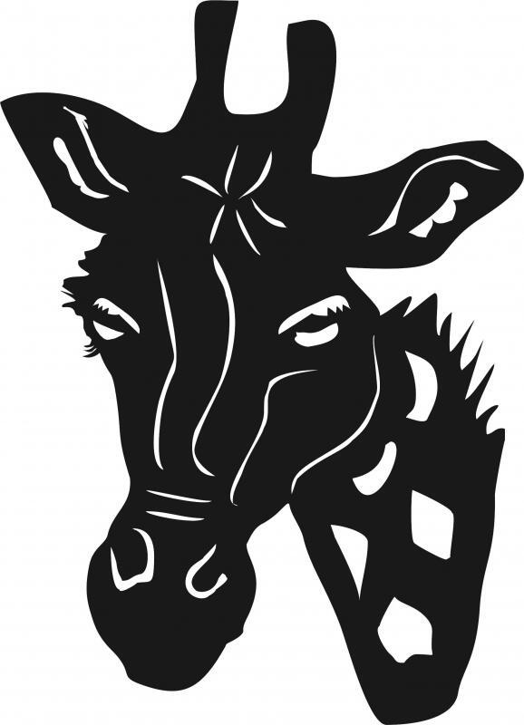 Laser Cut Appliques Giraffe Head Silhouette Applique