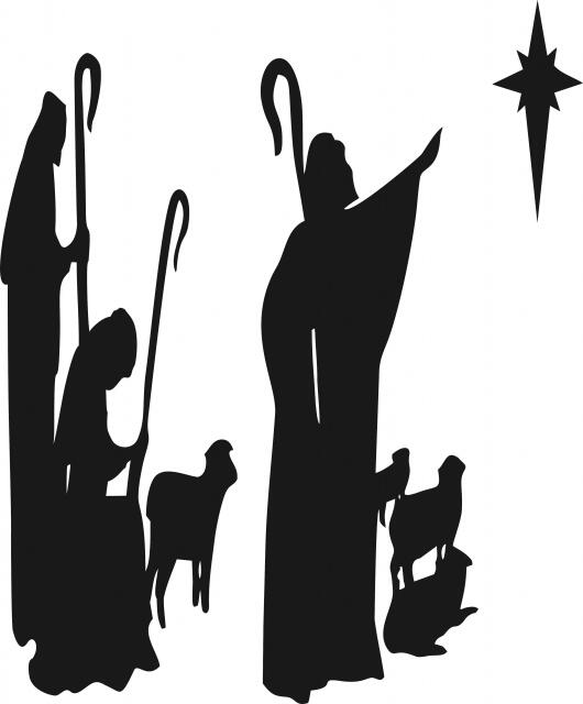 nativity shepherds with star set laser cut appliques